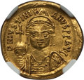 Ancients:Byzantine, Ancients: Justinian I (AD 527-565). AV solidus (4.43 gm). NGC AU5/5 - 2/5, ex-jewelry, crimped, griffito....