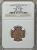 Civil War Patriotics, Five-Piece Lot of Civil War Patriotic Tokens NGC. The lot includes:1863 Army & Navy MS64 Brown NGC, Fuld-13/297a, R.2; 18...(Total: 5 tokens)