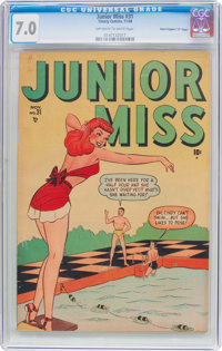"""Junior Miss #31 Davis Crippen (""""D"""" Copy) Pedigree (Timely, 1948) CGC FN/VF 7.0 Off-white to white pages"""