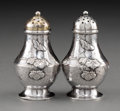 Silver Holloware, American:Other , A Pair of Tiffany & Co. Japanesque Silver Salt and PepperShakers with Applied Butterfly and Vine Motif, New York, NewYork,... (Total: 2 Items)