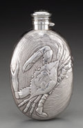 Silver Holloware, American:Flasks, A Gorham Aesthetic Movement Silver Flask with Crab and ClamshellMotif, Providence, Rhode Island, circa 1884. Marks: (lion-a...