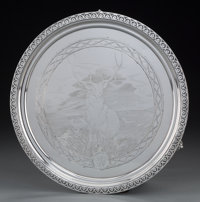 A Tiffany & Co. Silver Footed Salver with Engraved Stag Motif, New York, New York, circa 1854-1869 Marks: (doubl...