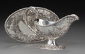 Silver Holloware, American:Sauce Boats, An S. Kirk & Son Co. Silver Landscape Repoussé Sauce Boat andUnderplate, Baltimore, Maryland, early 20th century. Marks: ...(Total: 2 Items)