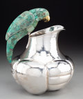 Silver & Vertu:Hollowware, An Emilia Castillo Silver-Plated and Malachite Water Pitcher with Parrot Handle, Taxco, Mexico, late 20th century. Marks: ...