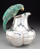 An Emilia Castillo Silver-Plated and Malachite Water Pitcher with Parrot Handle, Taxco, Mexico, late 20th century Marks:...