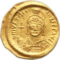 Ancients:Byzantine, Ancients: Justinian I (AD 527-565). AV solidus (4.38 gm). AU,scratches, flan flaw, clipped....