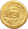 Ancients:Byzantine, Ancients: Justin II (AD 565-578). AV solidus (4.43 gm). Choice XF,scratches....