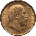 Australia, Australia: Edward VII gold Sovereign 1909-M MS64 NGC,...