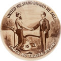 """Political:Pinback Buttons (1896-present), Williams Jennings Bryan: Ultra Rare 1¾"""" Size of the Classic """"Bryan and Laborer Shaking Hands"""" Design...."""