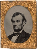 Political:Ferrotypes / Photo Badges (pre-1896), Abraham Lincoln: Gem Ferrotype with $5 Bill Brady Pose. ...