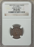 Civil War Patriotics, Five-Piece Lot of Civil War Patriotic Tokens NGC. The lot includes:1863 Army & Navy MS63 Brown NGC, Fuld-11/298a,...