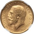 India:British India, India: British India. George V gold Sovereign 1918-I MS65 NGC,...