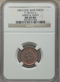 Civil War Patriotics, Five-Piece Lot of Civil War Patriotic Tokens NGC. The lot includes:1863 Army & Navy MS65 Brown NGC, Fuld-10/312a, R.1, ... (Total:5 tokens)