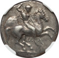 Ancients:Greek, Ancients: CALABRIA. Tarentum. Ca. 332-302 BC. AR stater or didrachm(7.89 gm). NGC AU 5/5 - 4/5, Fine Style....