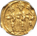 Ancients:Byzantine, Ancients: Heraclius (AD 610-641), with Heraclius Constantine andHeraclonas as Caesar. AV solidus (4.28 gm). NGC AU 5/5 - 3/5,marks, cl...