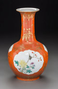 Asian:Chinese, A Chinese Porcelain Bottle Vase, Republic Period, circa 1912-1949.Marks: Qianlong seal in red underglaze and of a later per...