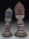 Asian:Other, Two Tibetan Silver, Coral, Turquoise, and Hardstone OfferingShrines, 19th century. 18-3/4 inches high (47.6 cm). 15-3/4 inc...(Total: 2 Items)
