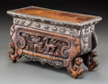 Asian:Other, A Tibetan or Mongolian Silver and Carved Hardwood Stand. 7-5/8 h x12-1/2 w x 5-3/4 d inches (19.4 x 31.8 x 14.6 cm). ...