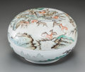 Asian:Chinese, A Large Chinese Enameled Porcelain Covered Box with Deer Motif,Republic Period, circa 1912-1949. Marks: Six-character Qianl...