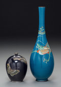 Asian:Japanese, An Inaba Nanaho Cloisonné Bottleneck Dragon Vase with AssociatedCabinet Vase with Butterfly Motif, Meiji Period and later. ...(Total: 2 Items)