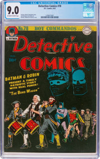 Detective Comics #78 (DC, 1943) CGC VF/NM 9.0 Off-white to white pages