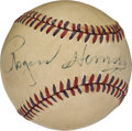 Baseball Collectibles:Balls, 1950's Rogers Hornsby Single Signed Baseball, PSA/DNA EX-MT 6....