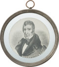 Political:Ferrotypes / Photo Badges (pre-1896), William Henry Harrison: Choice and Important Pewter Rim Medallion. ...