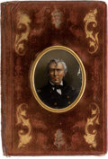 """Political:3D & Other Display (pre-1896), Zachary Taylor: Beautiful Velvet-Covered Notebook with Reverse """"Painting"""" on Glass. ..."""