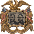 Political:Ferrotypes / Photo Badges (pre-1896), Grant & Colfax: Possibly the Best Ferrotype Jugate Badge. ...