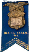 Political:Ferrotypes / Photo Badges (pre-1896), Blaine & Logan: Cardboard Jugate Attached to Ribbon....