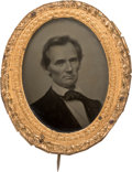 Political:Ferrotypes / Photo Badges (pre-1896), Abraham Lincoln: A Stunning Example of the Iconic George Clark Ambrotype. ...