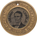 Political:Ferrotypes / Photo Badges (pre-1896), Abraham Lincoln: Back-to-Back Ferrotype with Hand-Drawn Names in the Image....