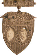 """Political:Ferrotypes / Photo Badges (pre-1896), Blaine & Logan: Very Rare """"Our Choice"""" Shield Jugate in Great Shape...."""