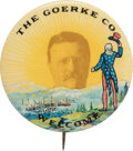 """Political:Pinback Buttons (1896-present), Theodore Roosevelt: Awesome and Ultra Rare """"Welcome"""" Button in the Most Desirable 1.75"""" Large Size...."""