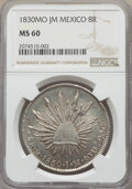 Mexico, Republic 8 Reales 1830 Mo-JM MS60 NGC, Mexico City...