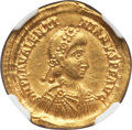 Ancients:Roman Imperial, Ancients: Valentinian III, Western Roman Emperor (AD 425-455). AV solidus (4.48 gm). NGC Choice AU 4/5 - 3/5, scratches....