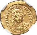 Ancients:Byzantine, Ancients: Anastasius I (AD 491-518). AV solidus (4.38 gm). NGC MS4/5 - 4/5, clipped....