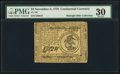 Colonial Notes:Continental Congress Issues, Continental Currency November 2, 1776 $3 PMG Very Fine 30.. ...