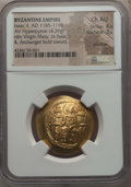 Ancients:Byzantine, Ancients: Isaac II Angelus (AD 1185-1195). AV hyperpyron (4.39 gm).NGC Choice AU 4/5 - 3/5, graffito....
