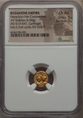 Ancients:Byzantine, Ancients: Heraclius (AD 610-641) and Heraclius Constantine (AD613-641). AV solidus (4.46 gm). NGC Choice AU 5/5 - 5/5....