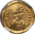 Ancients:Roman Imperial, Ancients: Arcadius, Eastern Roman Emperor (AD 383-408). AV solidus(4.43 gm). NGC XF 4/5 - 2/5, crimped....