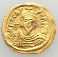 Ancients:Byzantine, Ancients: Phocas (AD 602-610). AV solidus (4.34 gm). AU, graffito,flan flaw, clipped....