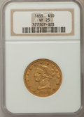Liberty Eagles: , 1855 $10 VF25 NGC. NGC Census: (1/578). PCGS Population: (2/283). Mintage 121,701. ...