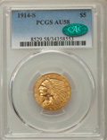 Indian Half Eagles: , 1914-S $5 AU58 PCGS. CAC. PCGS Population: (228/488). NGC Census:(565/511). CDN: $675 Whsle. Bid for problem-free NGC/PCGS...