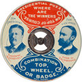 """Political:Pinback Buttons (1896-present), Roosevelt & Fairbanks: Exceptional, Lithographed Tin Jugate """"Top, Wheel, or Badge.""""..."""
