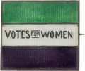 Political:Pinback Buttons (1896-present), Woman's Suffrage: Rare and Lovely Enamel Sterling Silver Brooch....