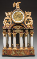 Decorative Arts, French:Other , A Biedermeier Giltwood, Alabaster, Burled Walnut, and Gilt BronzeMantel Clock, first half 19th century. 20 h x 12-3/4 w x 5...(Total: 2 Items)