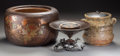 Asian:Japanese, A Japanese Earthenware Jar, Lacquered Hibachi, and Bronze Tazza.8-1/8 inches high x 12-3/4 inches diameter (20.6 x 32.4 cm)...(Total: 3 Items)