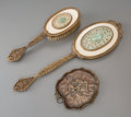 Decorative Arts, Continental:Other , A French Gilt Brass Hand Mirror and Comb Inset with Jade Plaquesand Gorham Bronze Frog Dish, early 20th century. Marks: (va...(Total: 3 Items)