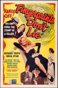 "Movie Posters:Crime, Fingerprints Don't Lie (Lippert, 1951). One Sheet (27"" X 41"").Crime.. ..."